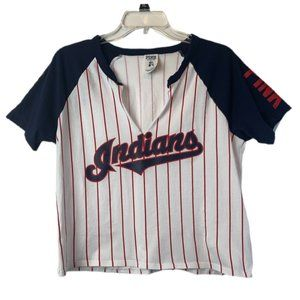 PINK Cleveland Indians Split Neck Pin Striped Top